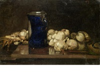 rustic still life of a tankard and a string of garlic by sir frank brangwyn