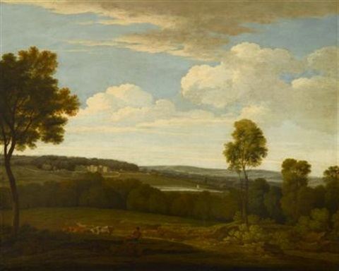 arcadian landscape with shepherd and cattle castle beyond by richard wilson