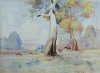 stockman with cattle in an australian landscape by theodore penleigh boyd