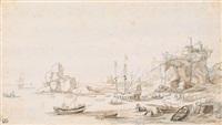 meeresküste mit felsen und schiffen by reinier nooms