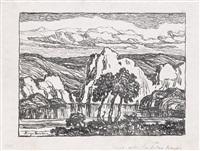creek with sandstone banks by birger sandzen