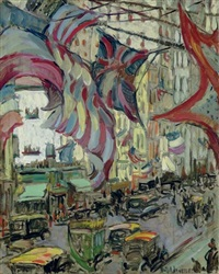 new york, sunlight and flags by ruth a. (temple) anderson