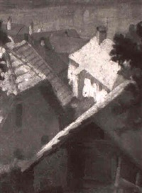 blick auf dacher des kahlenbergerdorfs by walther maria peck