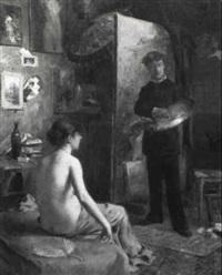 le peintre et son modèle by louis adolphe tessier