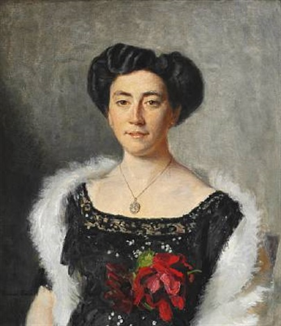 christiane bruun de neergaard in a black evening dress decorated with a red rose by michael peter ancher