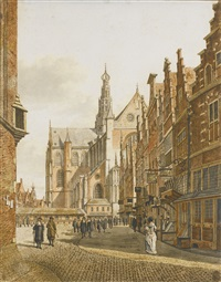 view of the grote kerk, haarlem (after berckheyde) by gerrit hulseboom