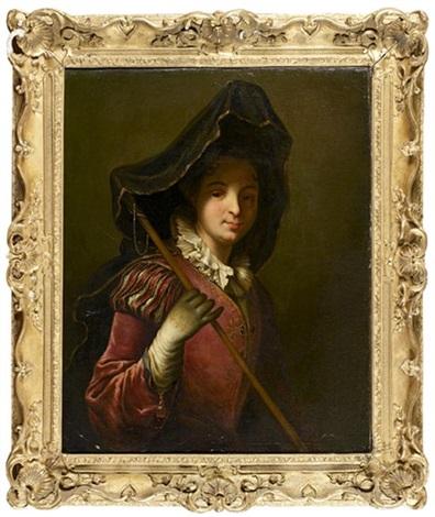 portrait de femme en pèlerine by jean baptiste santerre