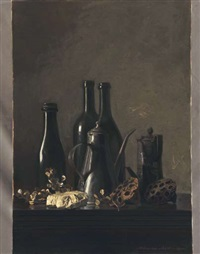 still life with bottles and lotus by toshiro aoki