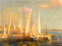 sailboats in newport beach by calvin liang