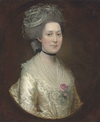 portrait of sarah langston, bust-length, in a white silk dress with a rose on her chest by thomas gainsborough