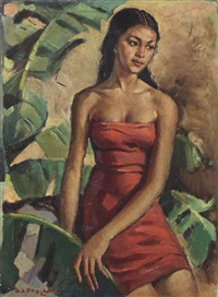 indonesian woman in red by raden basoeki abdullah