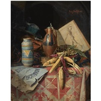 a still life with earthenware, vegetables and manuscripts by moritz mansfeld
