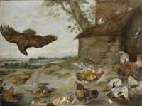 hens and cockerels before a hen-house with a bird of prey swooping by paul de vos