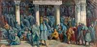 soldat sur les marches de la gare de l'est by maximilien luce