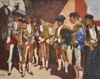 picadors et toreros dans l'arène by marcel françois leprin