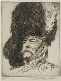 portrait of frank brangwyn (+ 2 others; 3 works) by joseph simpson