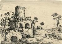 der zeichner - ruine mit figurenrelief - ruine mit rastenden wanderern - ruine als gasthof (4 works) by johann spillenberger
