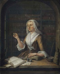 a woman counting money in a niche, an archive in the background by tiebout regters