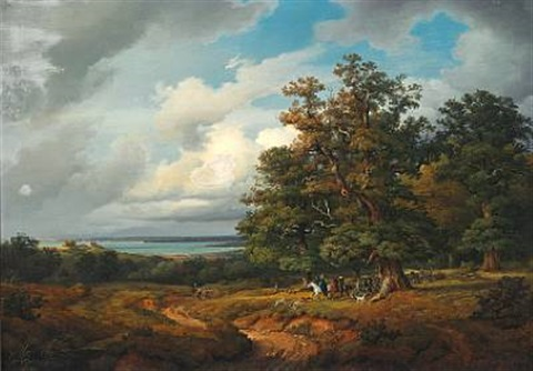 landscape with a hunting party by georg heinrich crola