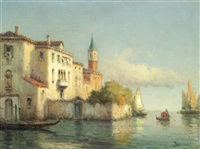 venetian view with st. mark's campanile in the distance by noel georges bouvard