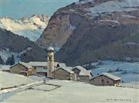 village de montagne by charles henry contencin