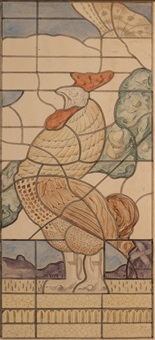 two roosters (pair) (design for leaded-glass windows) by willem van konijnenburg