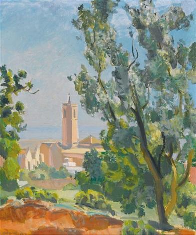 sommerliche landschaft mit blick auf einen kirchturm by maurice barraud