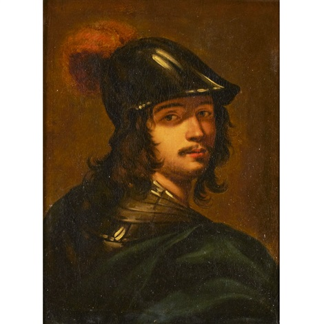 portrait of a man as the god of mars wearing an articulated gorget with blue sash and a helmet with red plum by sir anthony van dyck
