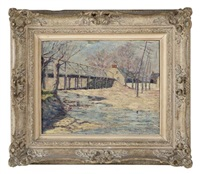 february maryland, bridge and snow by thomas buford meteyard