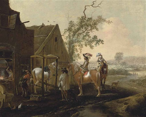 an elegant riding party at a blacksmith by philips wouwerman