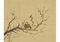 ume blossoms and little bird by zenjiro uda