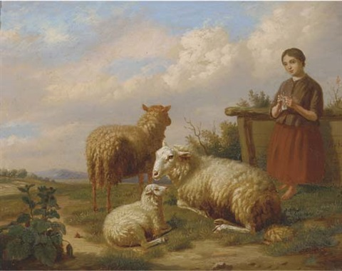watching over the flock by henri baert