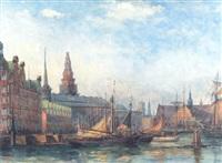 kobenhavns havn med sejlskibe, i baggrunden borsen by e. bosevang