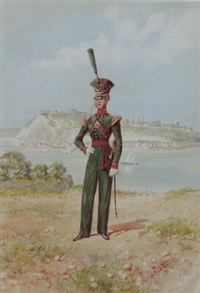 officer of the sixtieth royal american regiment of foot with a view of quebec city beyond by reginald augustus wymer