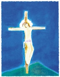 crucifixion, green hill by craigie aitchison