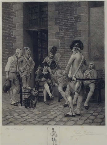 french soldiers in a street setting by jules leon edouard jacquet