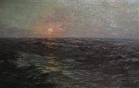 marine au coucher de soleil by albert isidore de vos