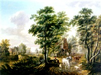 a peasant watering cattle near a farmhouse, a traveller resting on a tree trunk nearby, in a wooded landscape by jan van limmen