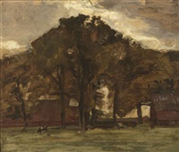 farmstead under oak trees - oil sketch iii by piet mondrian