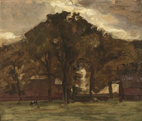 farmstead under oak trees oil sketch iii by piet mondrian