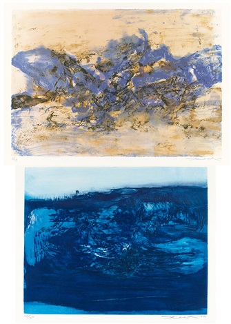 alithograph 1998 buntitled 2 works various sizes by zao wou ki