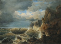 stormy coast by johann baptist weiss