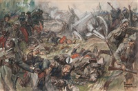 french soldiers taking a german emplacement by assault by dominique charles fouqueray