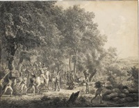soldiers in a wood, preparing an attack by dirk langendyk