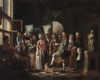 company in an interior with a fiddler and a man smoking a pipe by maximilian blommaerdt