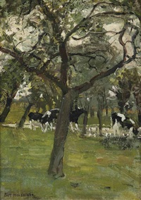 trees and cows along a stream by piet mondrian