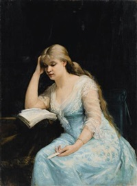 portrait of a young woman reading by mariya konstantinova bashkirtseva