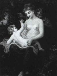 femme et deux enfants by albert f.a. laurens