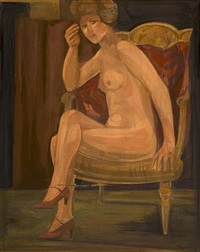female nude on red armchair by yiannis migadis