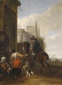 ein rastender reiter mit seinem kind bei einer zigeunerfamilie by hendrick verschuring